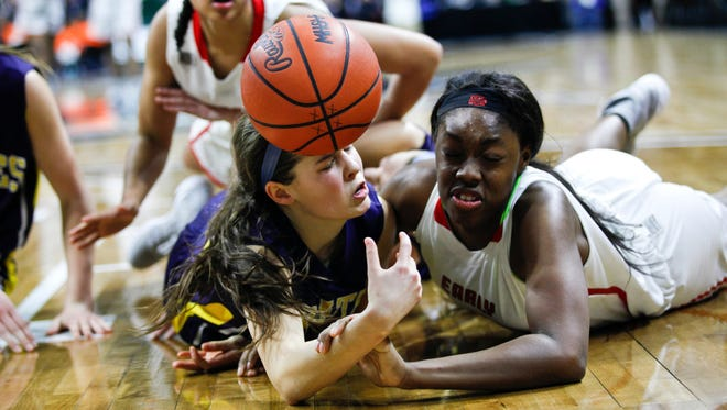 Pewamo-Westphalia plays against Detroit Edison's Rickea Jackson in the Class C state title game in East Lansing, Mich., on March 18, 2017.