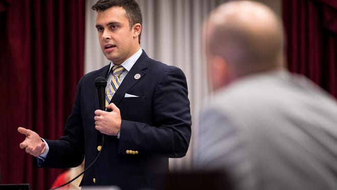 Metro Councilman Colby Sledge speaks before a vote on a Major League Soccer stadium plan during a council meeting at the Metro Courthouse in Nashville on Nov. 7, 2017.