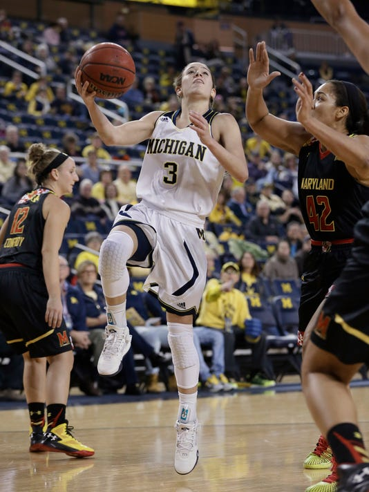 Michigan guard Katelynn Flaherty (3) makes a layup as Maryland center Brionna Jones (42) defends during the first half of an NCAA college basketball game Thursday, Jan. 14, 2016, in Ann Arbor, Mich. (AP Photo/Carlos Osorio)
