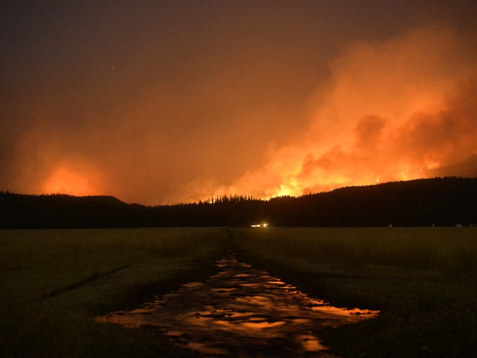 The Rice Ridge Fire burns in the Lolo National Forest