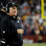 Dec 20, 2014; Landover, MD, USA; Philadelphia Eagles head coach Chip Kelly looks on against the Washington Redskins during the second half at FedEx Field. The Redskins won 27-24. Mandatory Credit: Brad Mills-USA TODAY Sports