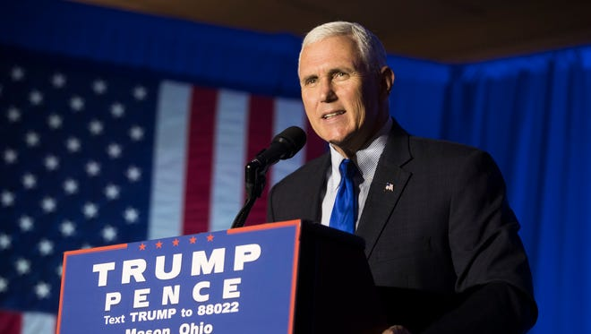 Republican vice presidential candidate Mike Pence speaks during a campaign rally Monday in Mason.