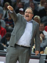 Pistons coach Stan Van Gundy calls a play during the fourth periodof the Pistons' 100-98 loss to the Cavaliers in Game 4 of the Eastern Conference quarterfinals Sunday at the Palace.