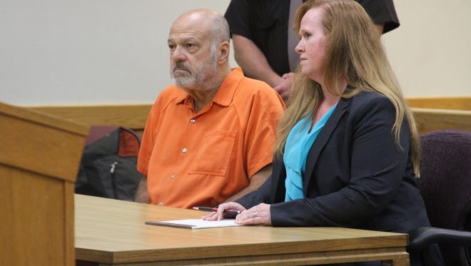 Martin Edward Zale and defense attorney Melissa Pearce attend a hearing Tuesday in Livingston County District Court in Howell. Zale is charged with open murder in connection with the shooting death of a Howell man Sept. 9 on Grand River Avenue in Genoa Township