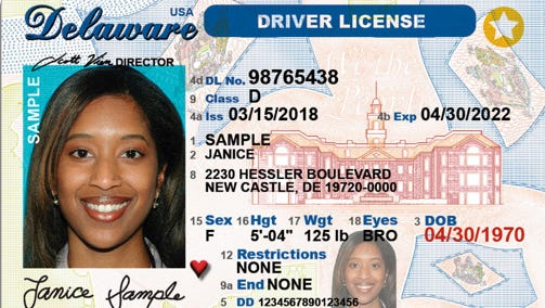 This is what the front of the new enhanced Delaware driver license will look like starting June 4.