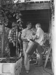 Bill Moffett at his home and vineyards on Seneca Lake, now Atwater Estates, circa 1975.