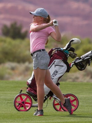 Pine View's Bailia Milne hits a shot on the front nine at The Ledges Golf Club on Wednesday. The Panthers won its first Region 9 tournament of the season after knocking off Desert Hills.