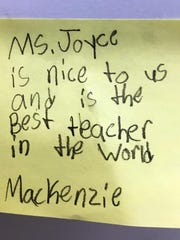 A student's note praises Collingswood teacher Kathy Joyce in a 2016 photo.