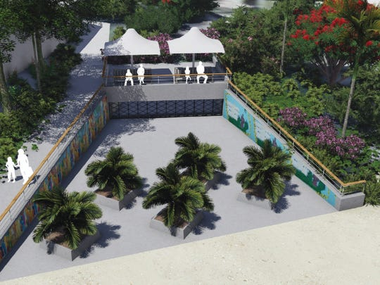 """This rendering shows a proposed """"culvert outlet structure"""" that would be featured as a part of a project to mitigate flooding along Pale San Vitores Road in Tumon. The proposal would allow overflow at Fujita Pond to flow through a culvert along Fujita Road and flow out at the end of the road."""