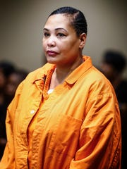 Sherra Wright during an April appearance in Judge Lee Coffee's courtroom.