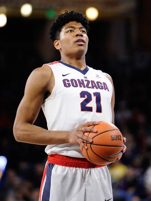 Gonzaga Bulldogs forward Rui Hachimura (21) attempts a free throw against the Loyola Marymount Lions during the first half at McCarthey Athletic Center.