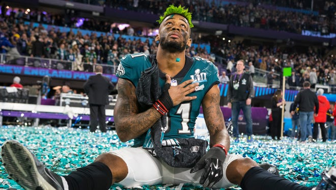 Eagles cornerback Jalen Mills looks up in the sky after winning Super Bowl LII defeating the New England Patriots 41-33.
