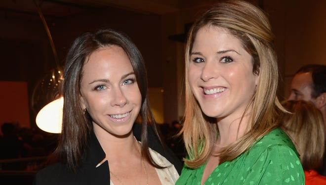 Twin sisters Barbara Bush, left, and Jenna Bush Hager attend the VIP Reception at Jony and Marc's (RED) Auction at Sotheby's on Nov. 23, 2013, in New York City.