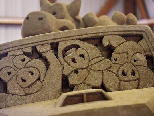 A detail of a large sand sculpture currently being created by Greg Glenn at the Benton County Fair in Sauk Rapids.