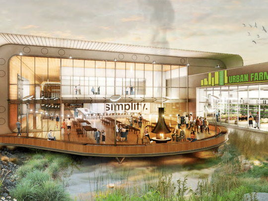 The food and beverage hub envisioned for the Menomonee Valley site includes a showcase building at its eastern end.