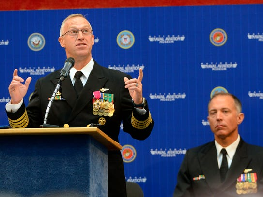 Capt. Ryan Bernacchi, the outgoing commander of the