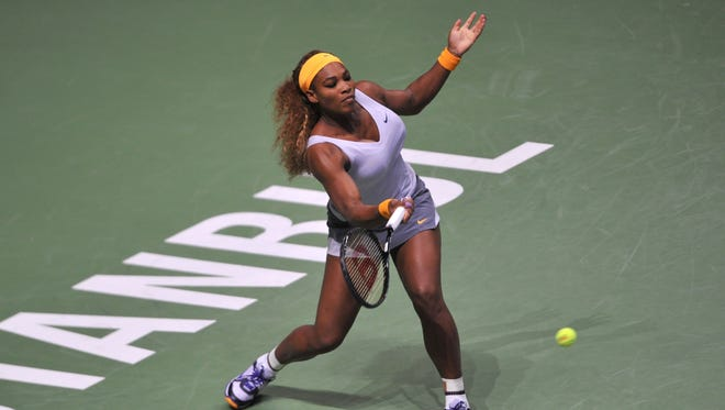 Serena Williams lines up a forehand during her victory Saturday against Jelena Jankovic of Serbia.