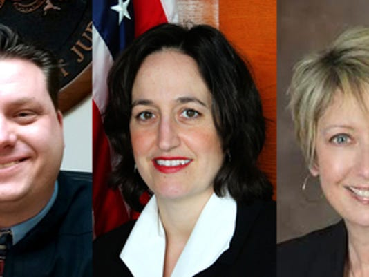 Shown are the three candidates running for Magisterial District Judge 19-3-03. From left, John Olwert, Laura Manifold and Jennifer Tobias. Submitted