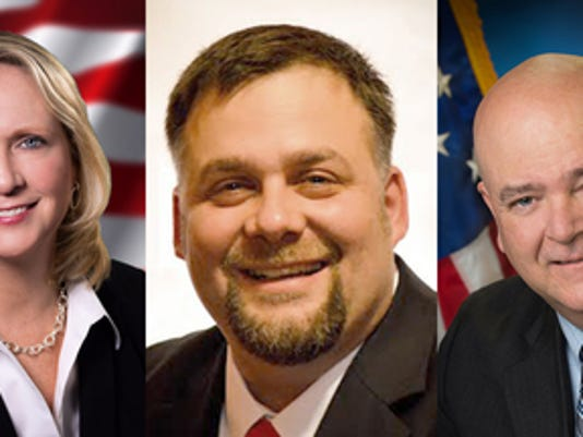 Shown are the three candidates running for Magisterial District Judge 19-2-05. From left, Jennifer Clancy, John Wolfe and Blake McBride. Submitted