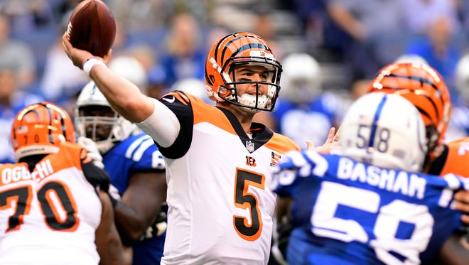 Aug 31, 2017; Indianapolis, IN, USA; Cincinnati Bengals quarterback AJ McCarron (5) drops back to pass  against the Indianapolis Colts at Lucas Oil Stadium. Mandatory Credit: Thomas J. Russo-USA TODAY Sports