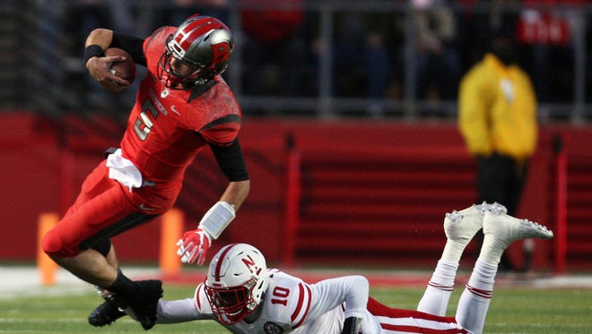 Rutgers quarterback Chris Laviano has spent most of the seven Big Ten games on the run from pressure.
