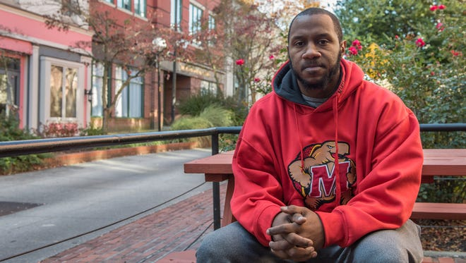 Community Activist, Jermichael Mitchell poses for a photo on West Main Street in Salisbury on Friday, Nov. 11, 2016.