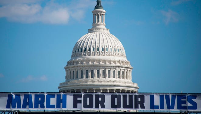 The March For Our Lives stage sign is seen near the capitol ahead of the anti-gun rally in Washington, D.C., on March 23, 2018.