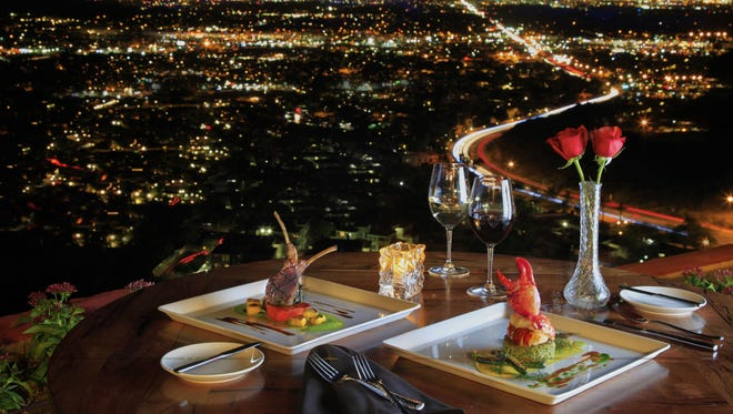 The view from the terrace of A Different Pointe of View restaurant at Pointe Hilton Tapatio Cliffs Resort in Phoenix.