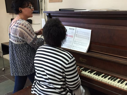 Nancy Hart (left) began teaching piano and guitar at Hoosier Veterans Assistance Foundation earlier this year.