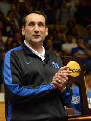Duke Blue Devils head coach Mike Krzyzewski speaks during a welcome home ceremony at Cameron Indoor Stadium.