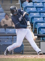 Binghamton's Peter Alonso homers against the Portland Sea Dogs on April 8 at NYSEG Stadium. Alonso is tied for the Eastern League lead with seven homers on the season.