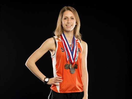 Kaylee Mitchell, a Sprague junior, is nominated for girl's cross country runner of the year in the Statesman Journal Sports Awards. Photographed at the Statesman Journal in downtown Salem on Monday, April 17, 2017.
