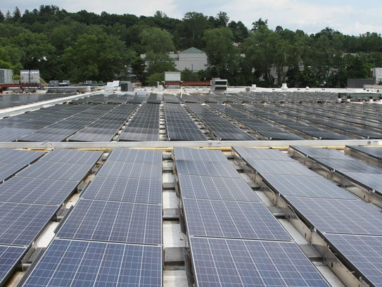 A portion of the 10 acres of solar panels atop the