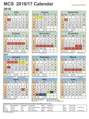 The MCS calendar for 2016-2017