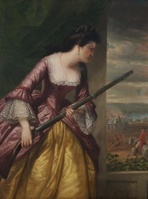 This painting by Daniel Huntington hanging in the Lyman Allyn Art Museum in New London depicts Abigail Hinman looking out the window of her New London home during Benedict Arnold's Sept, 6, 1781, raid. According to an account by the museum, Hinman later told relatives that she grabbed a musket to shoot Arnold -- he's the red-coated man on the horse -- but found it wasn't loaded when she pulled the trigger.