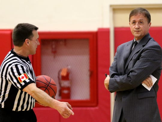 Western Oregon head coach Jim Shaw reacts to a referee's call in the Western Washington University vs. Western Oregon University men's basketball game at Western Oregon University in Monmouth on Thursday, Feb. 11, 2016. Western Oregon won the game 90-85.