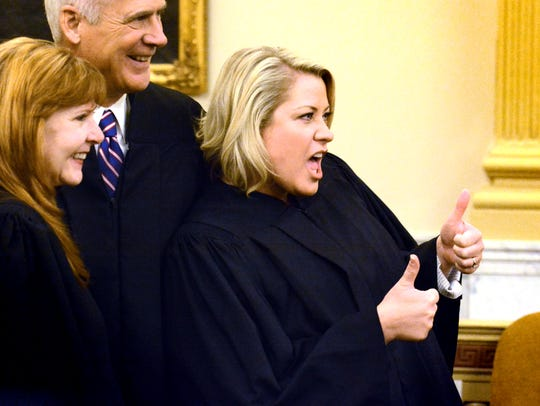 Common pleas court judge Amber Kraft gives a thumbs-up