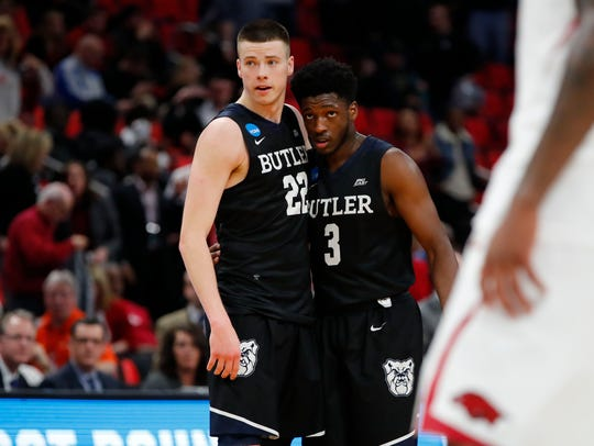 Butler Bulldogs guard Sean McDermott (22) and guard
