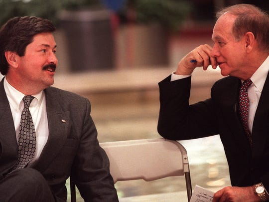 From 1996: Gov. Terry Branstad, left, visits with former governor Robert Ray at an even in Des Moines. Both were on hand to promote the state of Iowa's 150th birthday and Iowa's involvement with the Smithsonian's exhitbit in Washington, D.C.