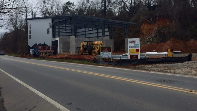 The soon-to-be Smoky Mountain Adventure Center is going up quickly along Amboy Road.