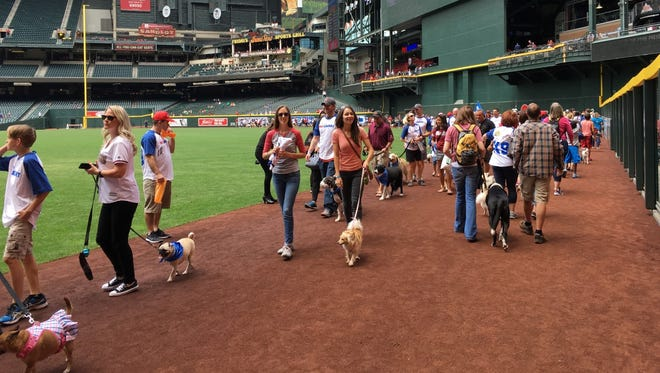 """Fans take part in the """"Puppy Parade"""" at Chase Field's Bark at the Park on Sunday."""