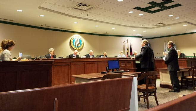 Jonathan Cook and Jerry Wilson present the new Showell Replacement School conceptual design to the Worcester County Commissioners on Sept. 20. The board voted not to approve the conceptual design, along with the cost estimate. A second vote is scheduled for Oct. 4.