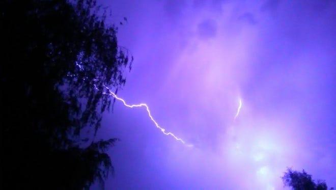 Lightning over the Mid-Valley on Wednesday, September 21, 2016.