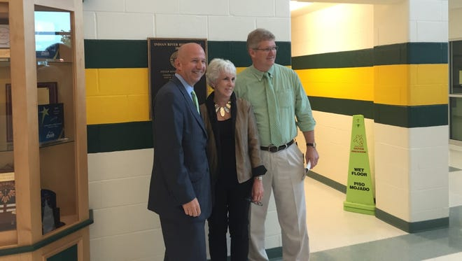 Gov. Markell, Superintendent of Indian River schools Susan Bunting and Indian River High School principal Bennett Murray pose for a picture after Gov. Markell's presentation to seniors at Indian River High School.