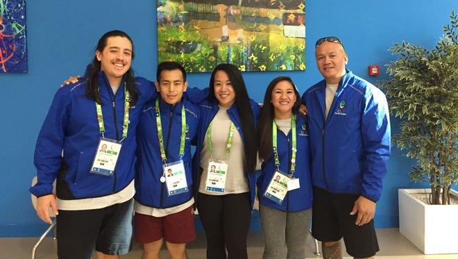 Guam weightlifters, from left, Brandon Holm, Julius Naranjo, Armie Almazan, Jacinta Sumagaysay and coach Edgar Molinos.