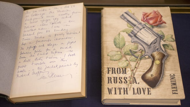 From Russia, with Love, published in 1957, from the collection of and by Ian Fleming, at the Lilly Library on the Indiana University campus, Bloomington, Thursday, Oct. 26, 2017.