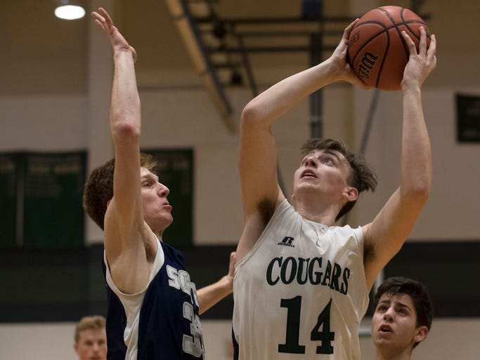 Colts Neck's Milo Federics goes up with shot against