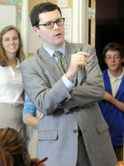 State Rep. Joe Hubbard, D-Montgomery, tours BTW Magnet High School on Tuesday, Oct. 22, 2013.