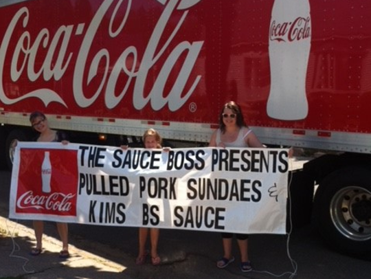 Kim Lemke's daughters in 2013 selling pulled pork and