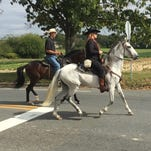 A pair of massive Friesian horses pull a hearse carriage in Vineland Wednesday afternoon on way to Sacred Heart Cemetery. The deceased, Tomas Rodriguez, raised his own horses. Joe Tetz Horse Drawn Funerals provided the carriage.